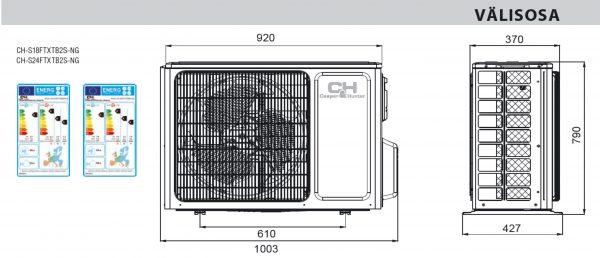 icyIII välisosa mõõdud s18s24 600x258 - UUS! Õhksoojuspump C&H Icy III - S18 Wi-Fi