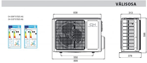 icyIII välisosa s09s12 600x258 - UUS! Õhksoojuspump C&H Icy III - S09 Wi-Fi