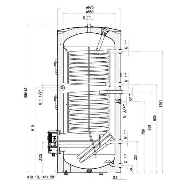 Kolmesüsteemne boiler Drazice 300litr põrandale