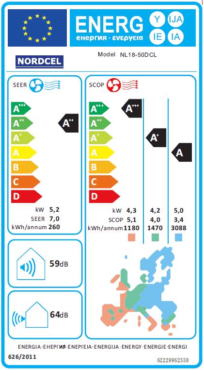 Õhksoojuspump NORDCEL LOMO NL18-50DCL WiFi